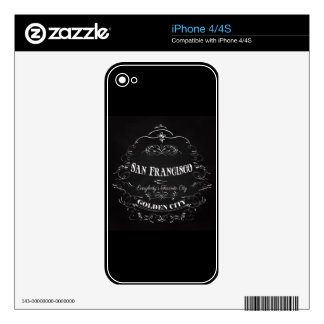 San Francisco California Art - The Golden City Skins For The iPhone 4