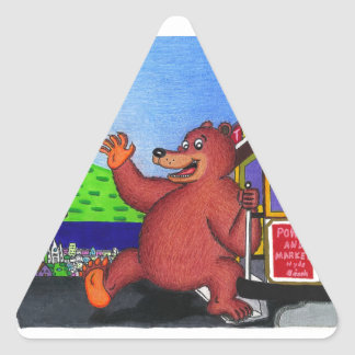 San Francisco California Bear Flag 2 Triangle Sticker