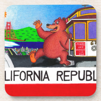 San Francisco California Bear Flag Drink Coaster