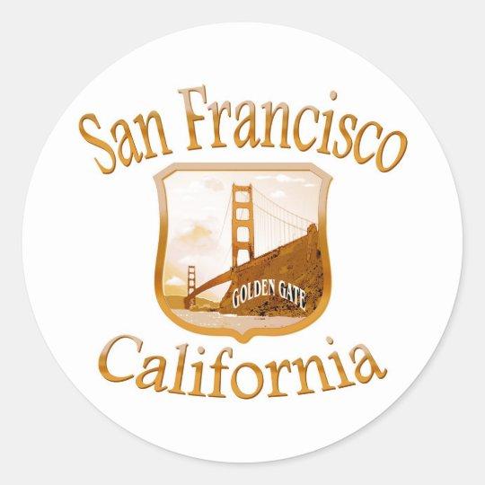 San Francisco California Gold Classic Round Sticker