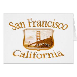 San Francisco California Gold Label Greeting Card