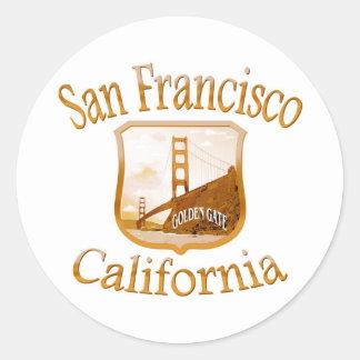 San Francisco California Gold Label Classic Round Sticker