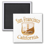 San Francisco California Gold Label Refrigerator Magnets