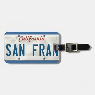 San Francisco California License Plate Luggage Tag