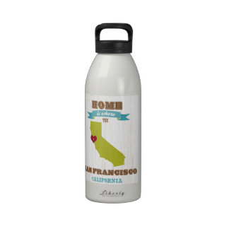 San Francisco, California Map – Home Is Where Reusable Water Bottle