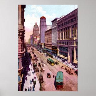 San Francisco California Market near Powell 1910 Print