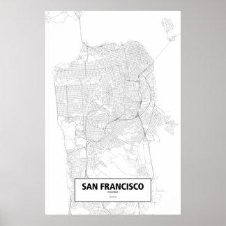 San Francisco, California (negro en blanco) Póster