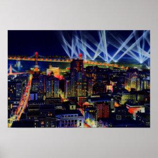 San Francisco California Night View of Bay Bridge Print