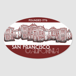 San Francisco California old town red stickers