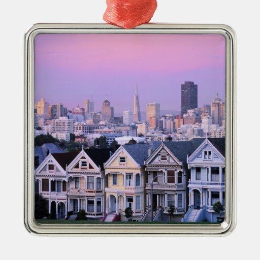 San Francisco, California. Opinión el Victorian Adorno Cuadrado Plateado