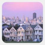 San Francisco, California. Opinión el Victorian Pegatina Cuadrada