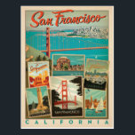 "San Francisco, California Postcard<br><div class=""desc"">Anderson Design Group is an award-winning illustration and design firm in Nashville,  Tennessee. Founder Joel Anderson directs a team of talented artists to create original poster art that looks like classic vintage advertising prints from the 1920s to the 1960s.</div>"