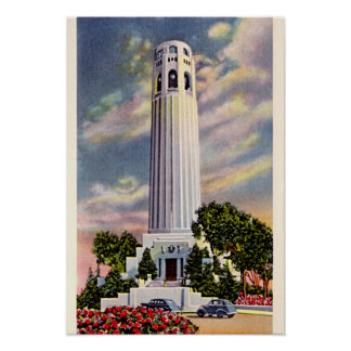 San Francisco, California Telegraph Hill 1940 Print