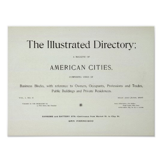 San Francisco California Title Page Poster