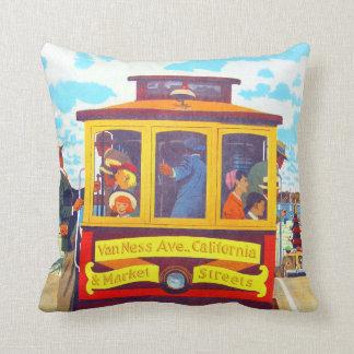 San Francisco California Trolley Car Golden Gate Throw Pillow