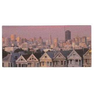 San Francisco, California. View of Victorian Wood USB Flash Drive