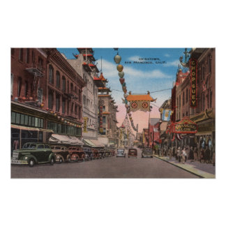 San Francisco, CAView of Chinatown Main Street Poster
