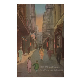 San Francisco, CAView of Old Chinatown Street Poster