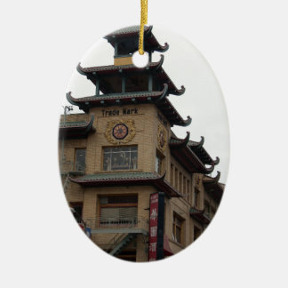 San Francisco Chinatown Architecture Double-Sided Oval Ceramic Christmas Ornament