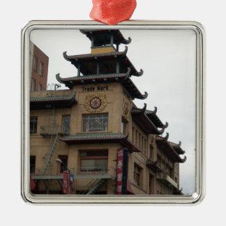 San Francisco Chinatown Architecture Square Metal Christmas Ornament