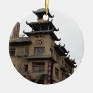 San Francisco Chinatown Architecture Double-Sided Ceramic Round Christmas Ornament