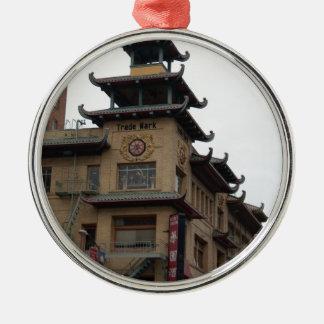 San Francisco Chinatown Architecture Round Metal Christmas Ornament