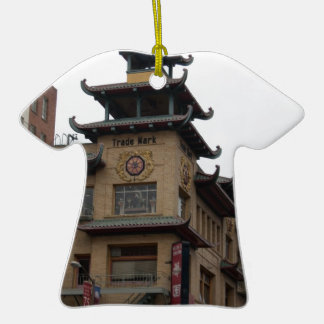 San Francisco Chinatown Architecture Double-Sided T-Shirt Ceramic Christmas Ornament
