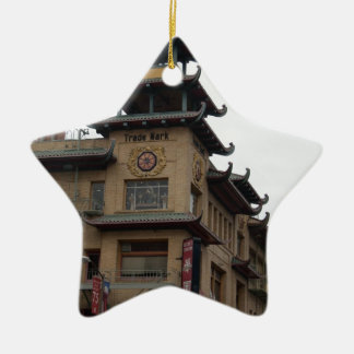 San Francisco Chinatown Architecture Double-Sided Star Ceramic Christmas Ornament