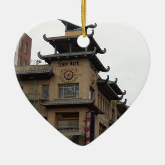 San Francisco Chinatown Architecture Double-Sided Heart Ceramic Christmas Ornament