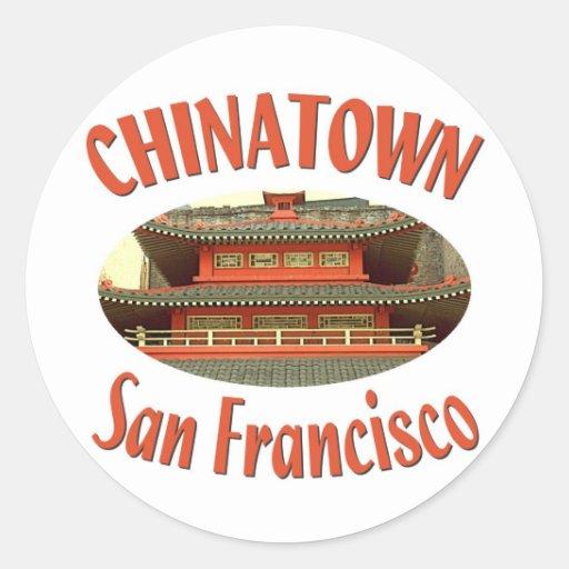 San Francisco Chinatown Pegatina Redonda