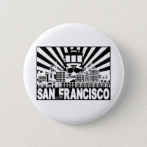 San Francisco city and Trolley sun rays background Button