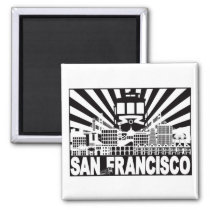 San Francisco city and Trolley sun rays background Magnet