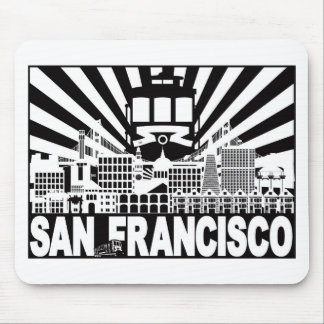 San Francisco city and Trolley sun rays background Mouse Pad