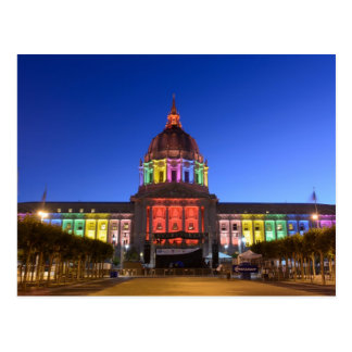 San Francisco City Hall rainbow lights Postcard