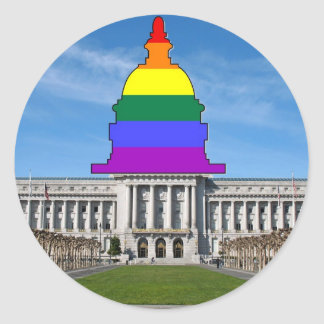 San Francisco City Hall Rainbow Pride Classic Round Sticker