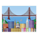 San Francisco City Skyline Drawing Illustration Po Post Card