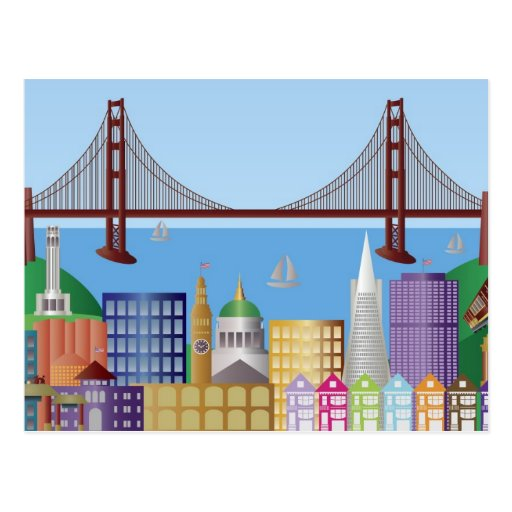 San Francisco City Skyline Drawing Illustration Po Post Card