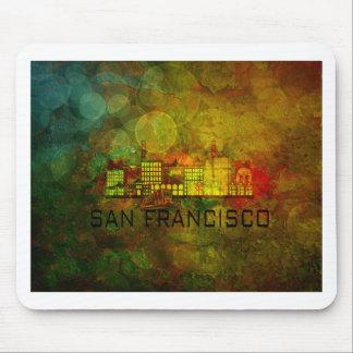 San Francisco City Skyline on Grunge Background Il Mouse Pad