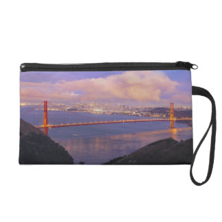 San Francisco City Skyline with Golden Gate Bridge Wristlet Clutches