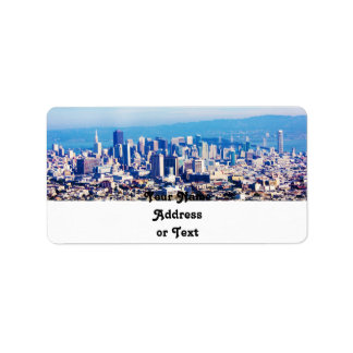 San Francisco City View Panoramic Custom Address Label