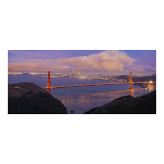 San Francisco City with Golden Gate Bridge Poster