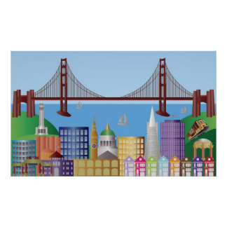 San Francisco Cityscape Drawing Illustration Poste Poster