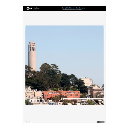 San Francisco Coit Tower Decals For The PS3 Slim