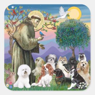 San Francisco con 10 perros Pegatina Cuadrada