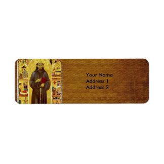 San Francisco de la iconografía medieval de Assiss Etiquetas De Remite