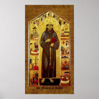 San Francisco de la iconografía medieval de Assiss Poster