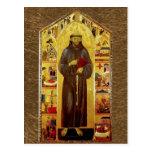 San Francisco de la iconografía medieval de Assiss Tarjeta Postal