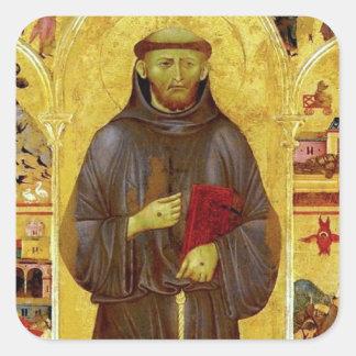San Francisco de la iconografía medieval de Calcomanía Cuadradas