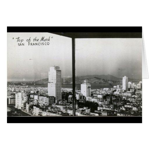 San Francisco desde arriba del vintage de la marca Tarjeta De Felicitación