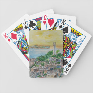 San Francisco Dusk Sunset Over Coit Tower Bicycle Playing Cards